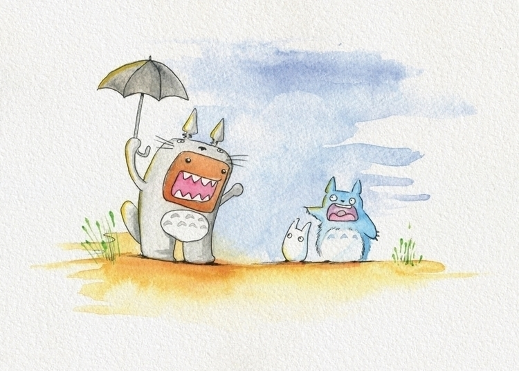 Domo Kun cosplaying Totoro - watercolor - cryssy-7658 | ello