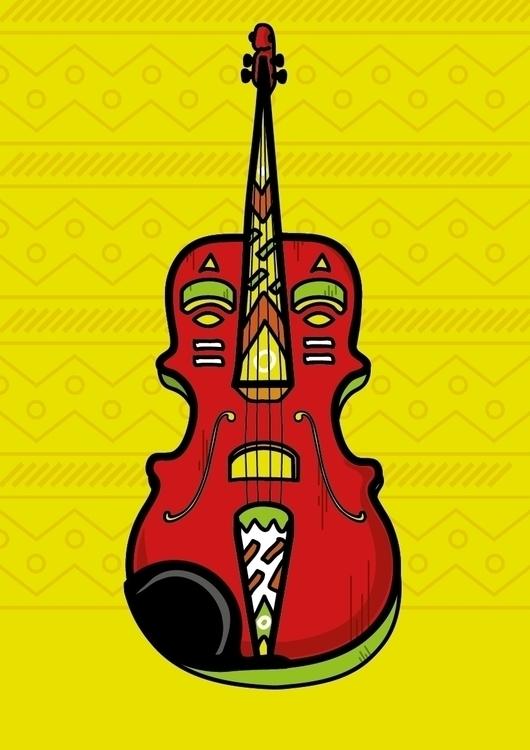 Violin/African mask Illustratio - pbirch | ello