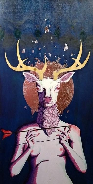 head animal - painting, illustration - jennifervolkman | ello