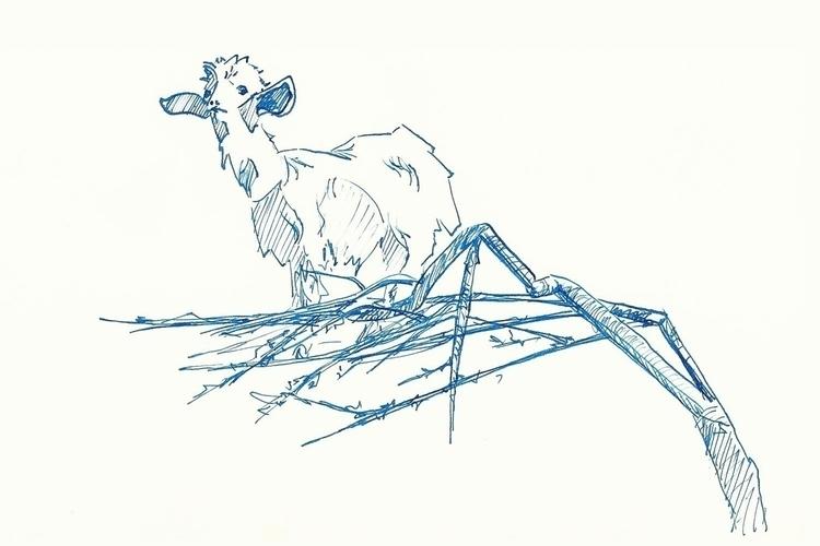 Goat tree - goat, sketch, penink - rachelbishop | ello