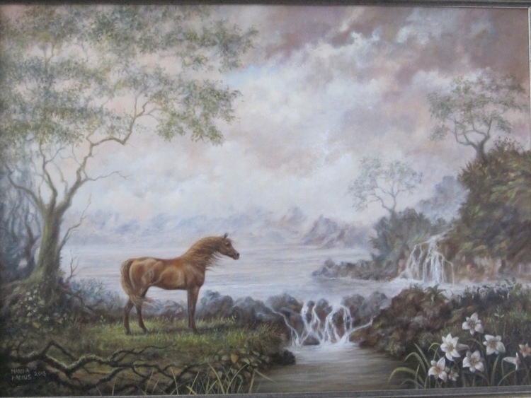golden horse, oil canvas, 50x70 - marina-7013 | ello