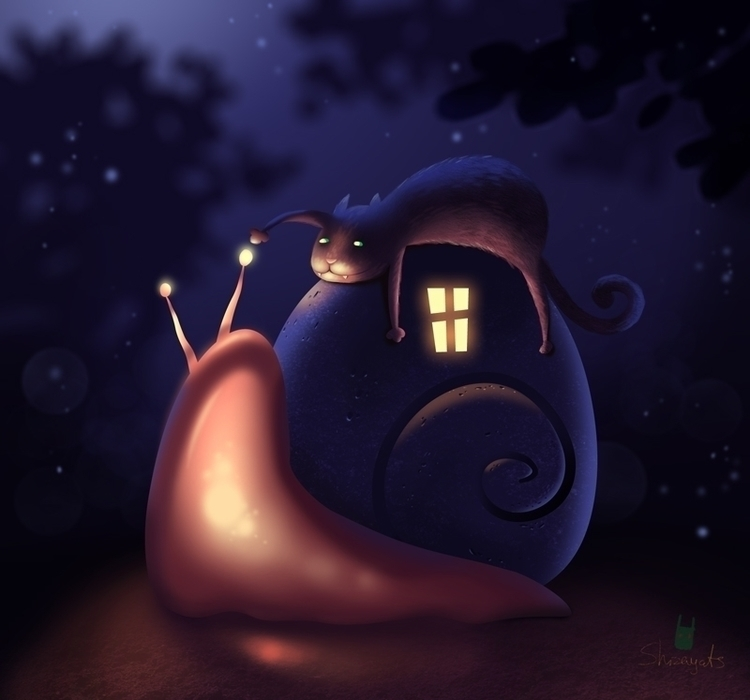 Snail dream - illustration, snail - pushkina | ello