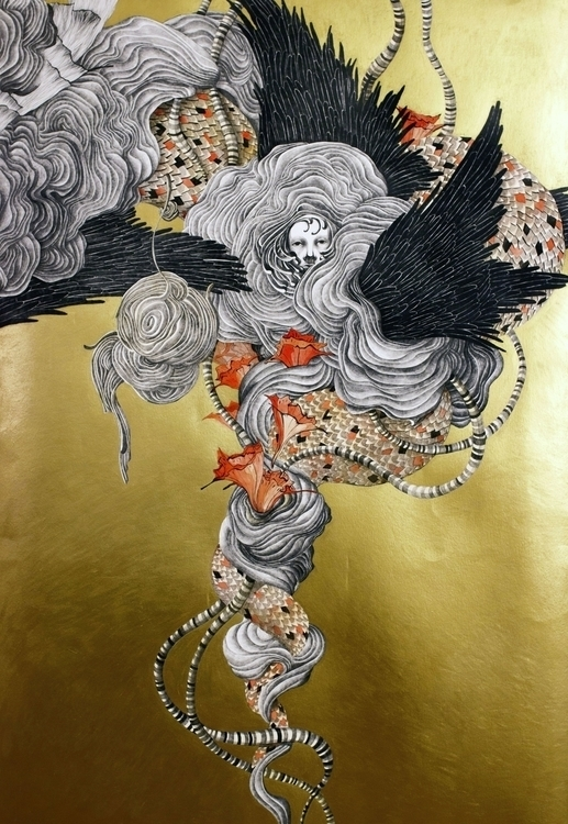 drawing, gold, big, fantasy, art - linakusaite | ello