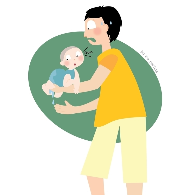 oopsie~ - illustration, family, baby - iracarlina | ello