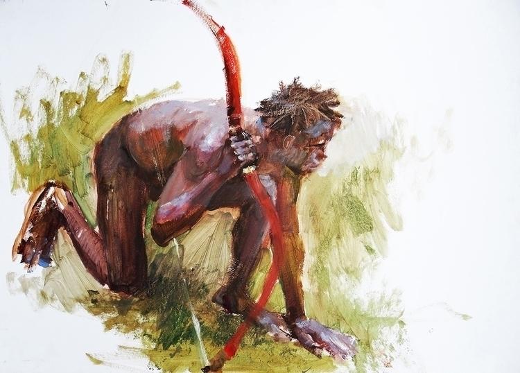 hunt 50x70cm, oil cardboard - painting - kashlak | ello