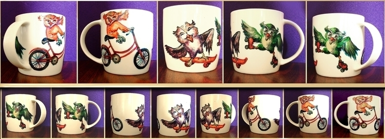 Fun Owls 2 - painting, cup, teacup - aiakira | ello