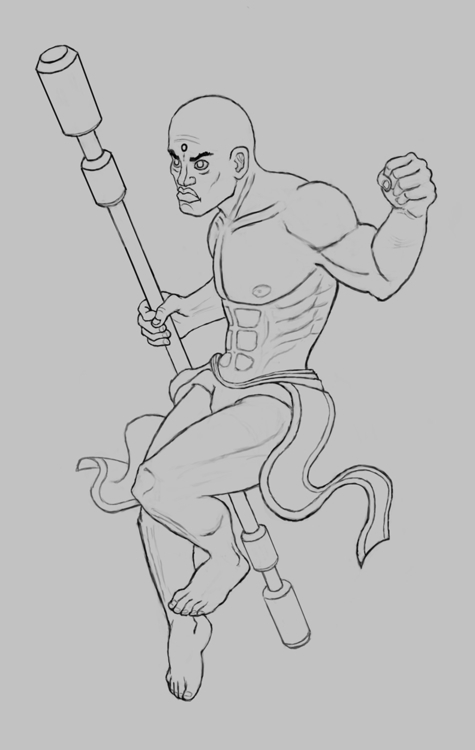 Monk Sketch - warrior, monk, sketch - kamilteczynski | ello