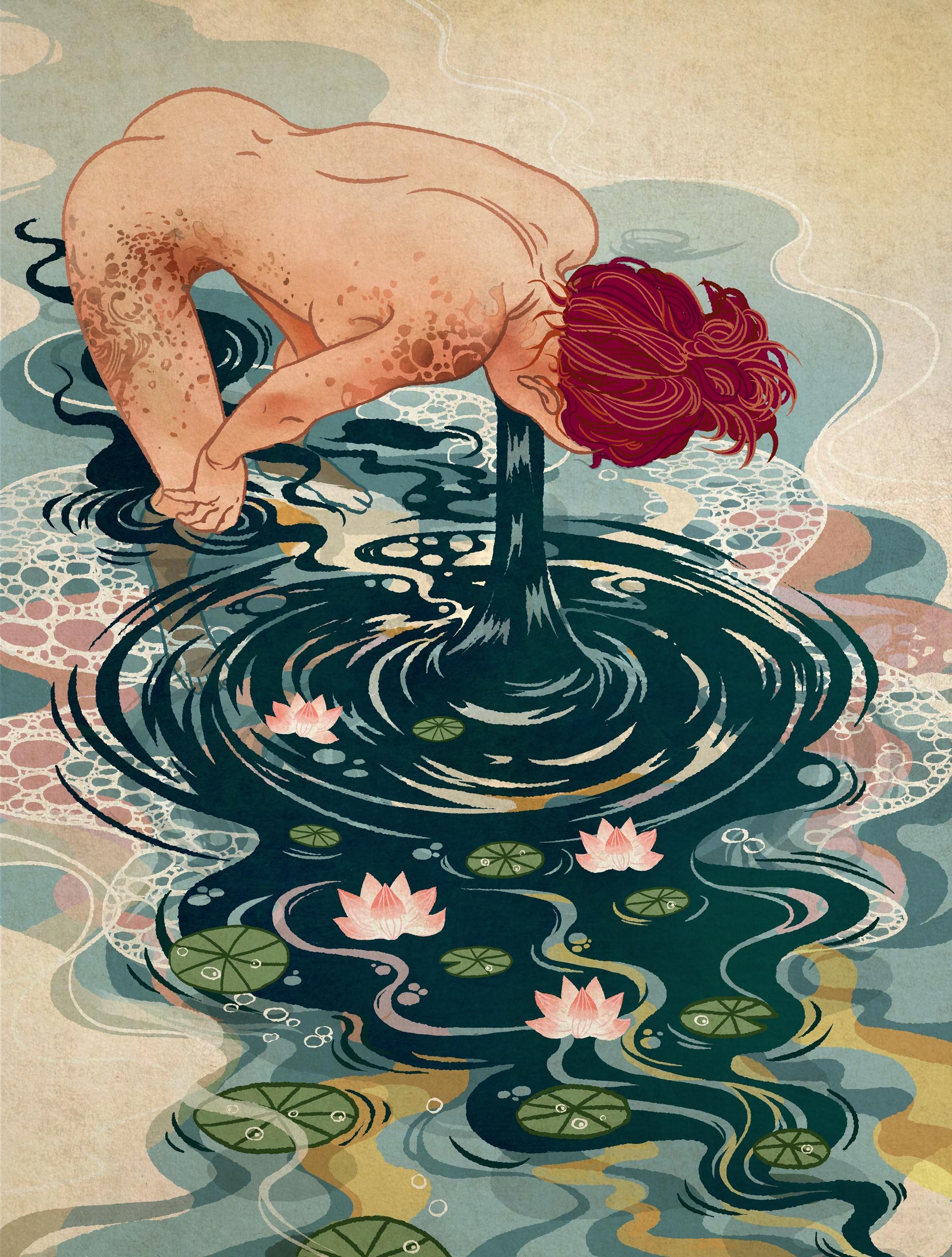 drowning, lotus, naked, nude - neuneu | ello