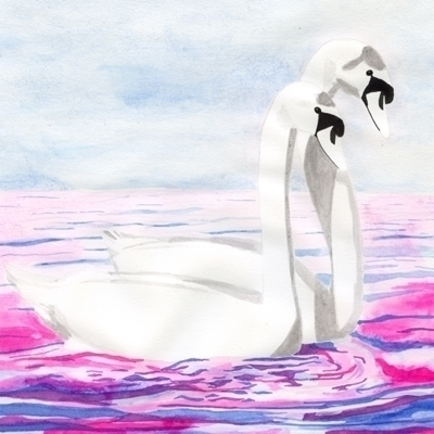 swans, romantic, watercolours - robincottage | ello