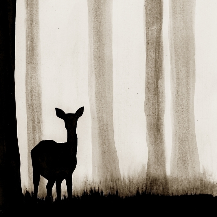 deer, watercolour, forrest, blackandwhite - robincottage | ello