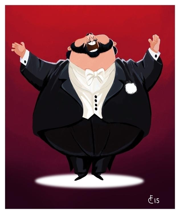 Luciano Pavarotti - caricature, digitalillustration - finbarcoyle | ello