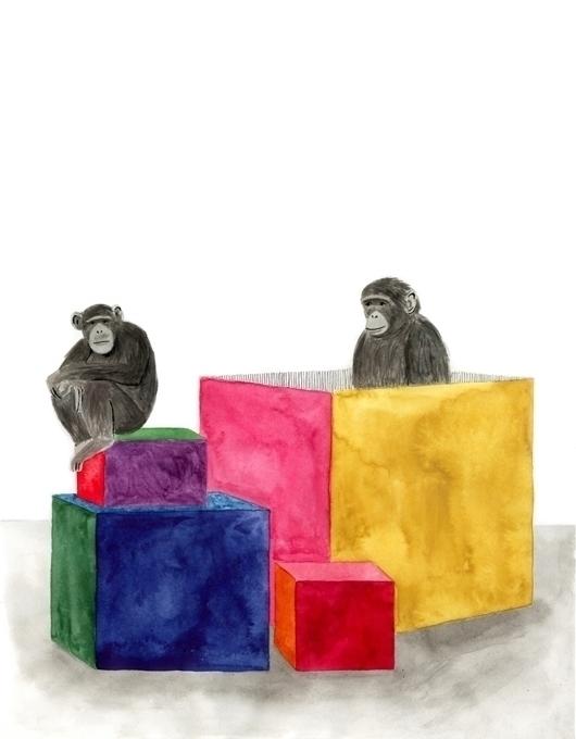 apes, box, watercolour, funny - robincottage | ello