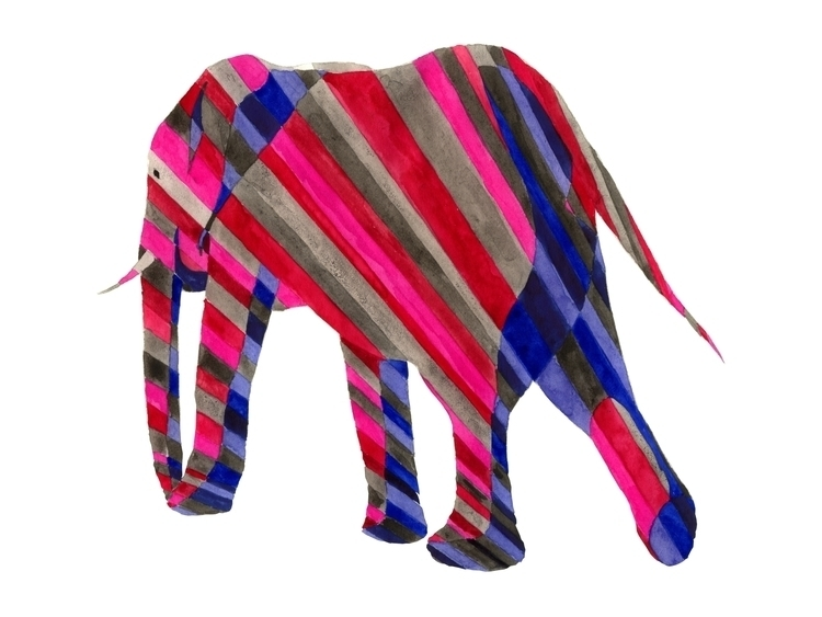 elephant, stripes, blue, red - robincottage | ello