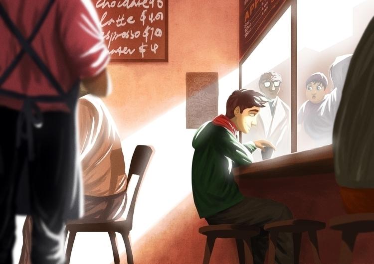 cuppa cafe Melbourne alley - illustration - dominicdraws | ello