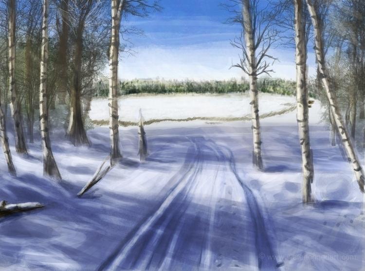 illustration, landscape, snow - waterloggedart | ello
