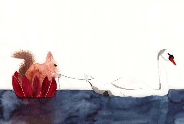 squirrel, swan, lake, watercolour - robincottage | ello