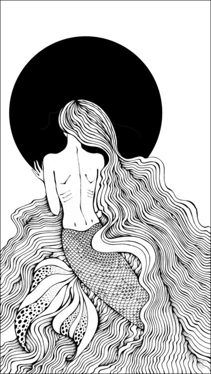 Mermaid - mermaid, moon, sea, waves - depesha2 | ello
