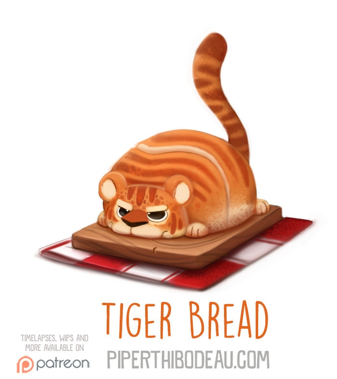 Daily Paint 1577. Tiger Bread - piperthibodeau | ello
