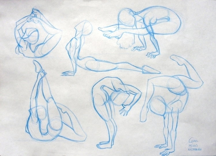 Yoga Poses - sketch, #characterdesign - ginarivas | ello