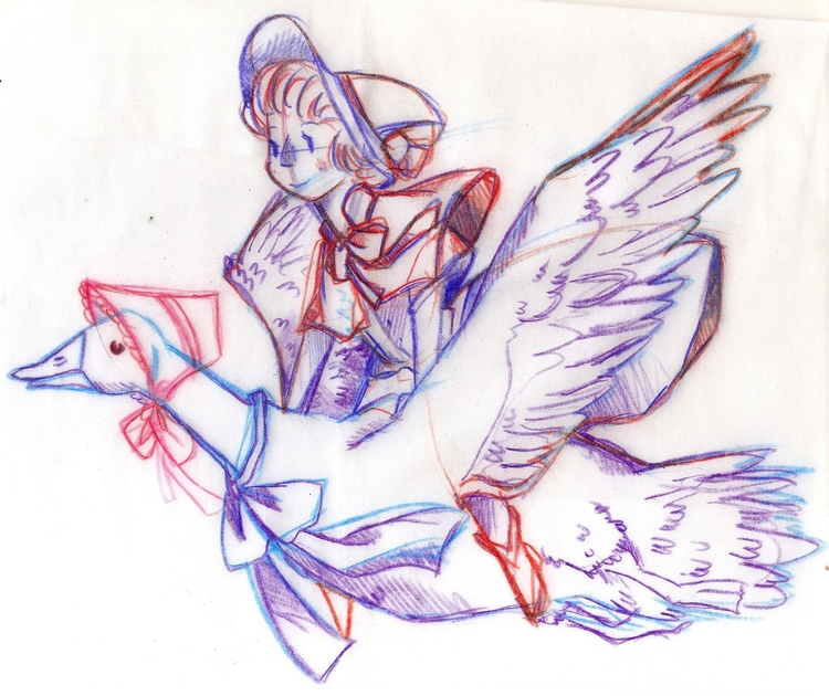 Mother Goose sketch - illustration - peppermintmime   ello