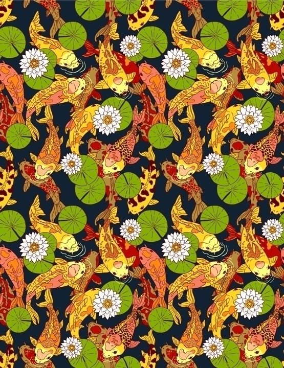 Bright Koi - koi, textiles, textile - juliaminamata | ello