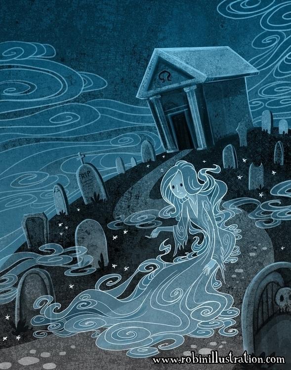 Cemetery Beckon - cemetery, ghost - robinrobinsonia   ello