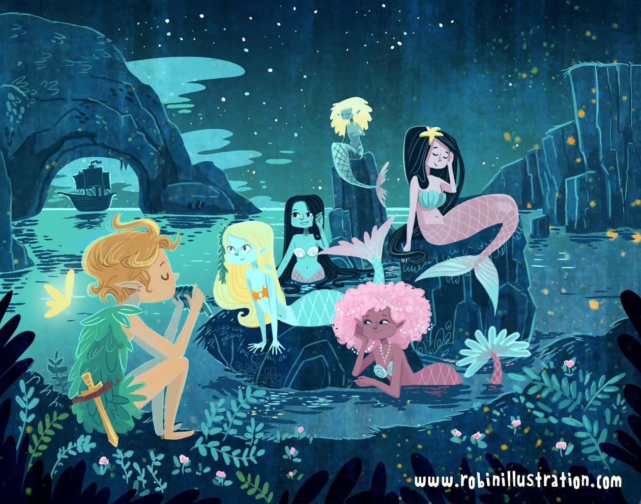 Mermaid Lagoon - peterpan, mermaids - robinrobinsonia   ello