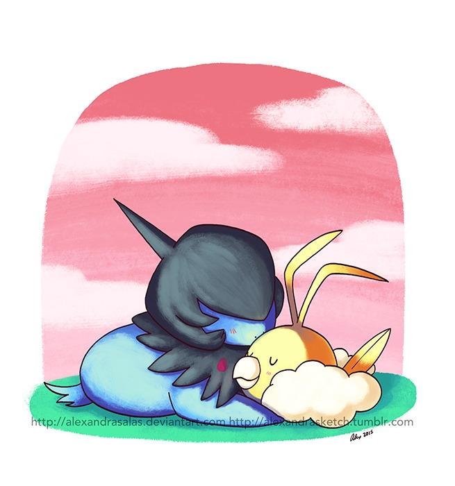deino, swablu, pokemon, illustration - alexandrasketch | ello