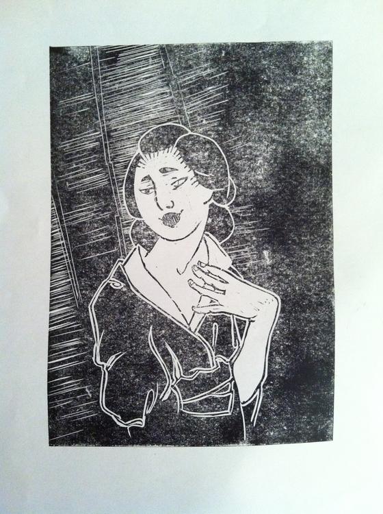 Geisha - stammered ink - linocut - clarisse-1174 | ello