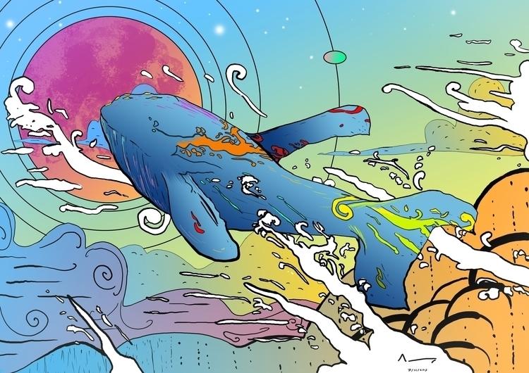 magic, whale, sky, sci-fi, scifi - albertpradells | ello