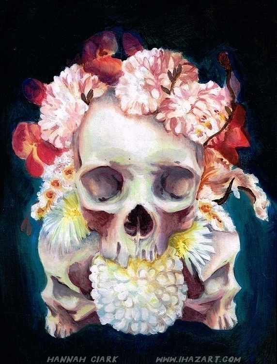 Personal painting - skulls, flowers - ihazart | ello