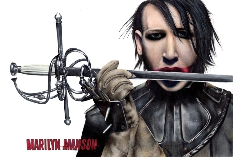 illustration, portrait, marilynmanson - katmay | ello