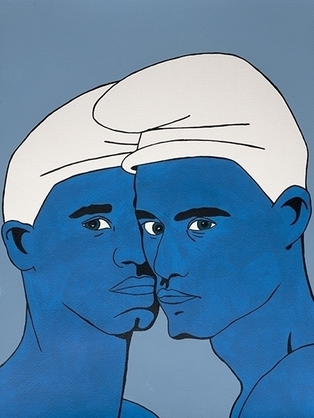 blue men Acryl paper 30x40cm - illustration - jordibisquert | ello