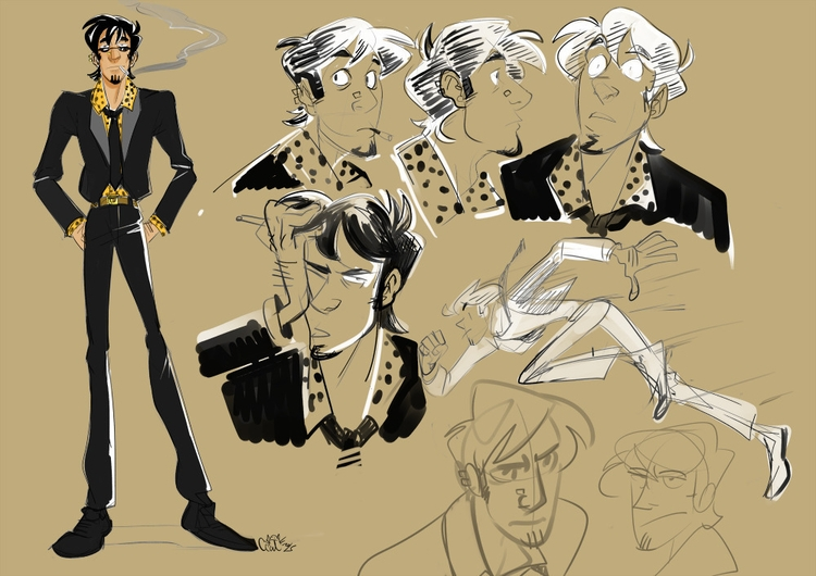 characterdesign, drawing, downtownintrigues - curvedcat | ello