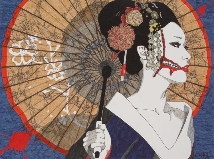 Kuchisake-onna - illustration, conceptart - cavano | ello