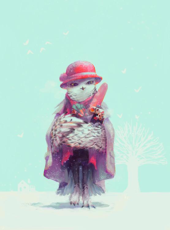 """Madam Snowy Owl started HOOT d - manwhal | ello"