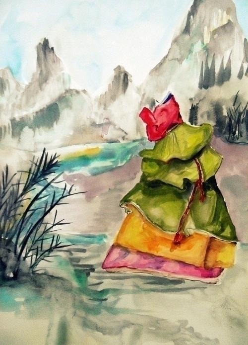 hanbok landscape - illustration - randa-6383 | ello