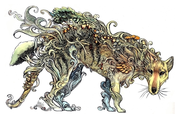 Ghost Wilderness - Thylacine - illustration - saralutra-9852 | ello