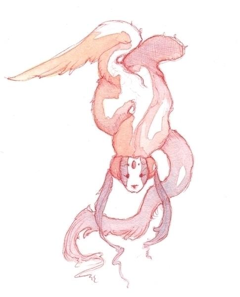 Ballpoint watercolor drawing 2  - ariggio   ello