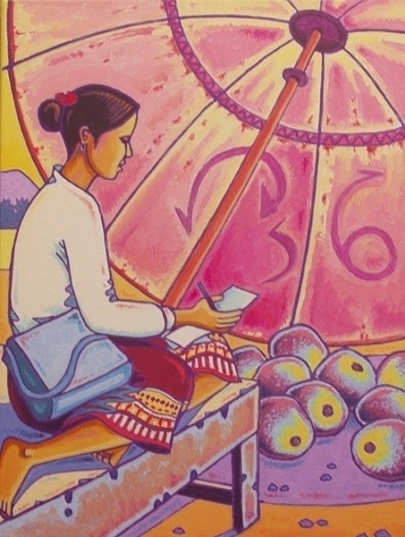 Lao woman acrylics canvas xl 40 - gillesmevel | ello