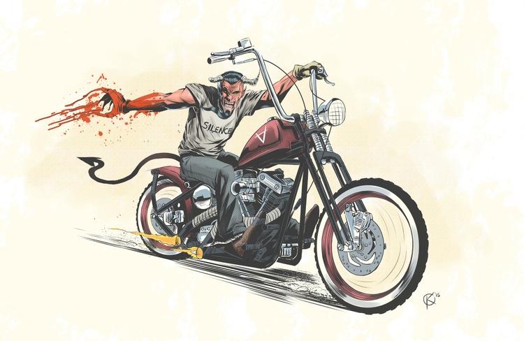 Demon riding bobber style motor - universek-1349 | ello