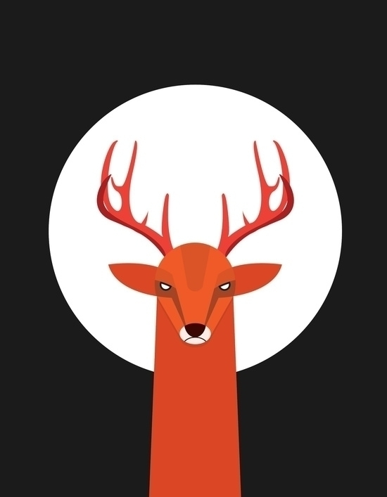 Deer Moon - illustration, deer, moon - volkandalyan | ello
