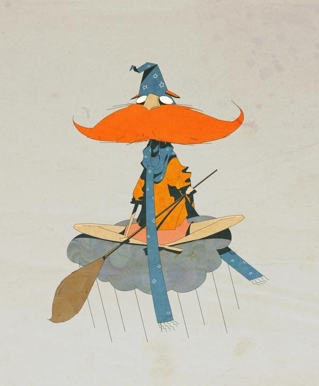 rainy wizard - illustration, painting - causelovesky | ello