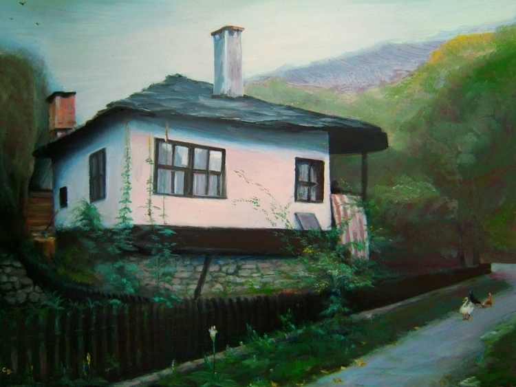 house Bulgarian village, oil ca - kamen-1347 | ello