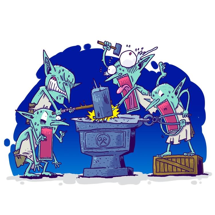 003 - Goblin Smithies - illustration - rtcustoms | ello