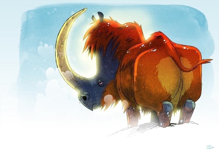 Rhino - rhino, illustration, digitalart - hugocuellar | ello