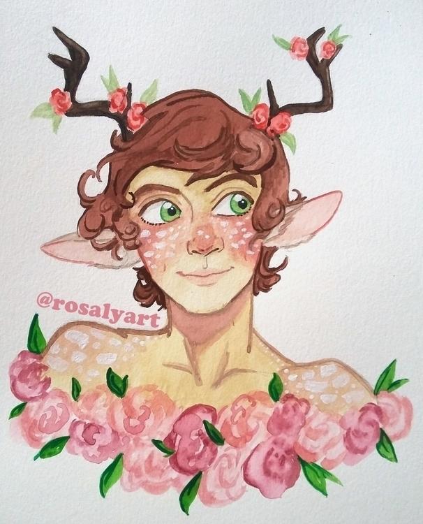 WaterColor Faun - illustration, watercolor - rosalyart | ello
