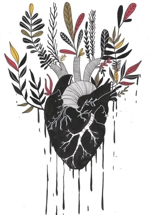 Black flowered Heart - illustration - valeriazaccheddu | ello