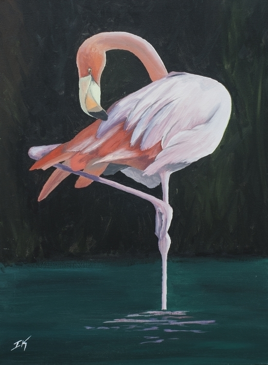 Flamingo Acrylic Canvas 18x24 - knox-8743 | ello
