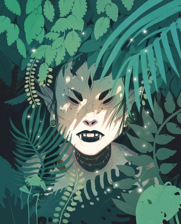 huntress, foliage, illustration - emengel | ello